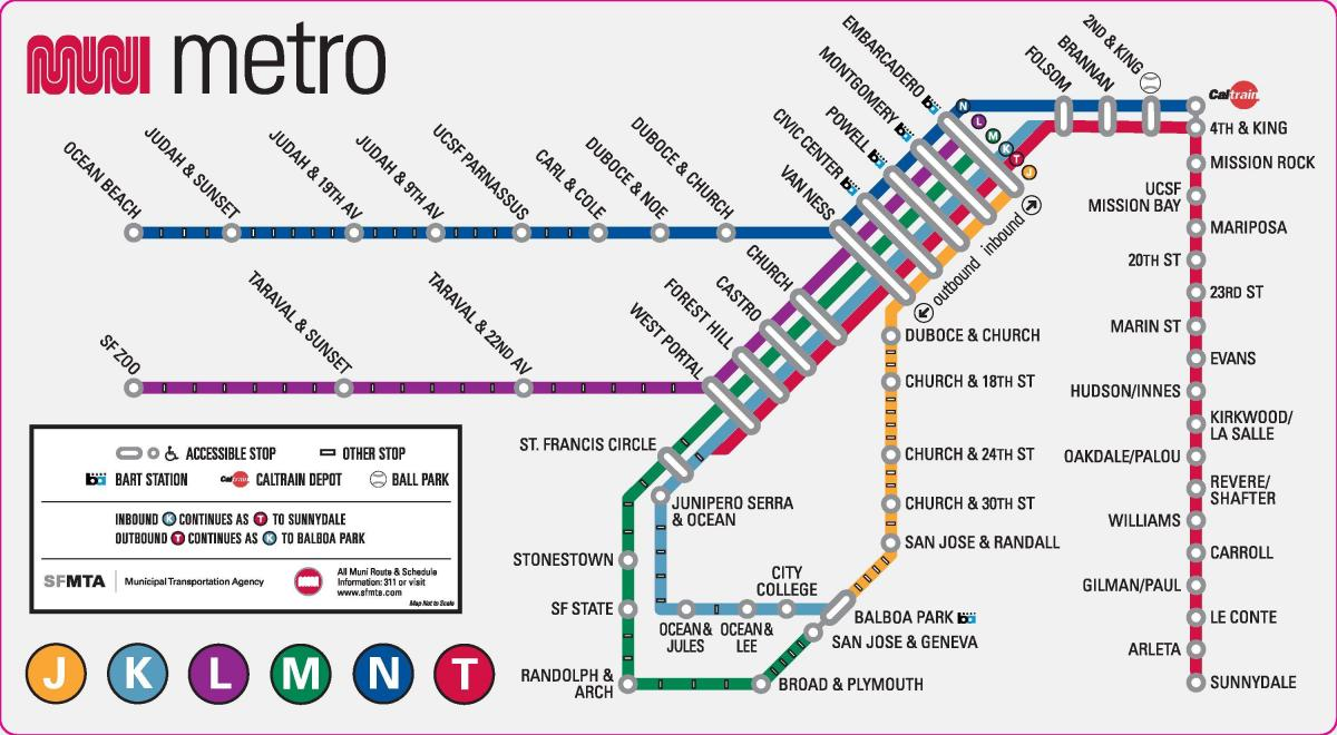 San Francisco metro stations map