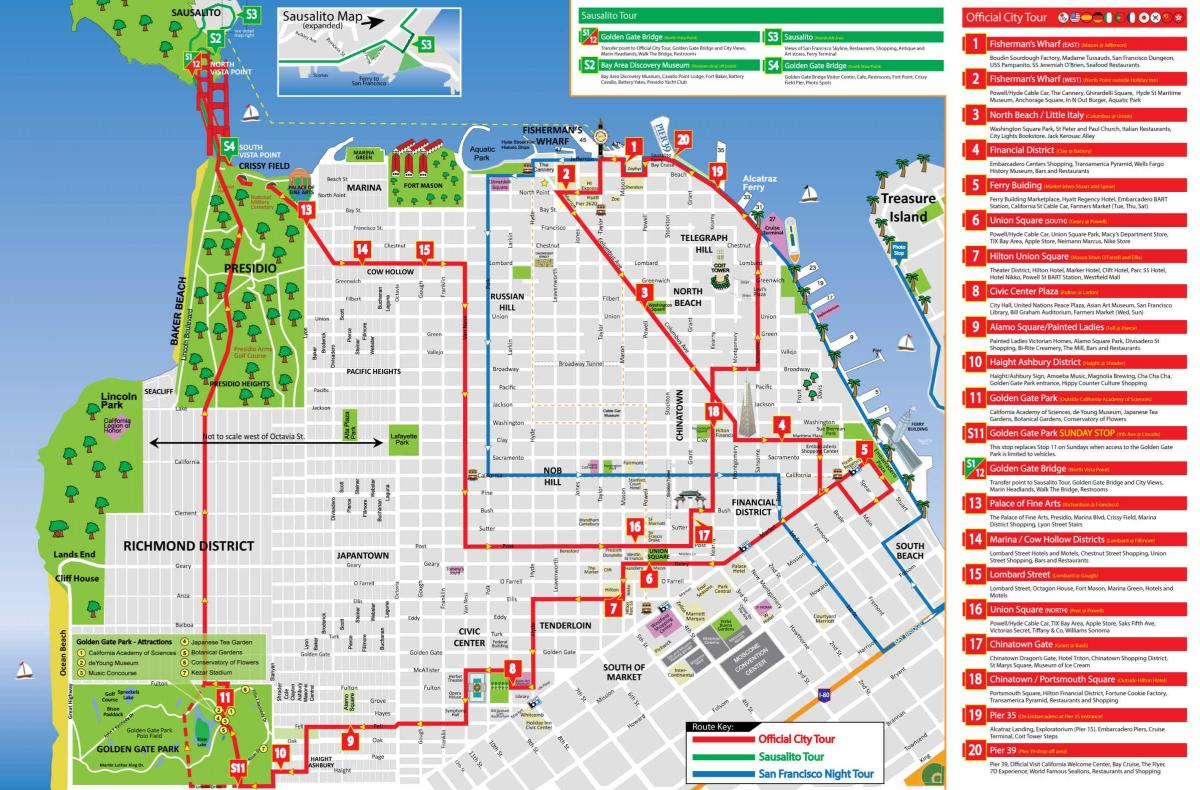 San Francisco sightseeing map